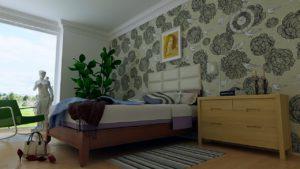 tapete wand zimmer schlafzimmer bett wohnung-nwb immobilien